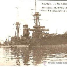 Postales: MARINA DE GUERRA ESPAÑOLA.ACORAZADO ALFONSO XIII.Y LOS SUBMARINOS A1 E I.PERAL. Lote 28527170