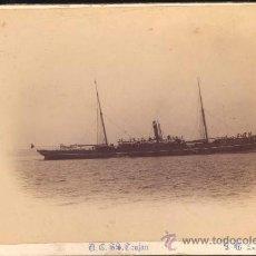 Postales: FOTOGRAFÍA SOBRE CARTONÉ DE EL BARCO A.C. SS. TROJAN- SOUTHAMPTON. Lote 28846282