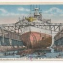 Postales: BATTLESHIP ILLINOIS IN US DRY DROCK, NEW ORLEANS. BARCO. . Lote 29289213
