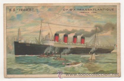S. S. 'FRANCE', BARCO. CIE. GLE. TRANSATLANTIQUE, FRENCH LINE. (Postales - Postales Temáticas - Barcos)