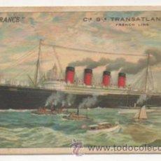 Postales: S. S. 'FRANCE', BARCO. CIE. GLE. TRANSATLANTIQUE, FRENCH LINE. . Lote 29289224