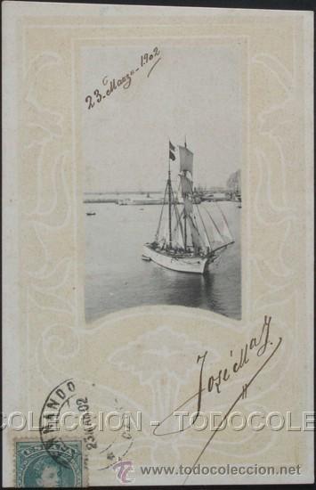 POSTAL PUERTO Y VELERO ART NOUVEAU . HAUSER Y MENET CA AÑO 1900 . (Postales - Postales Temáticas - Barcos)
