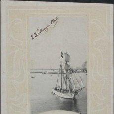 Postales: POSTAL PUERTO Y VELERO ART NOUVEAU . HAUSER Y MENET CA AÑO 1900 .. Lote 30320983
