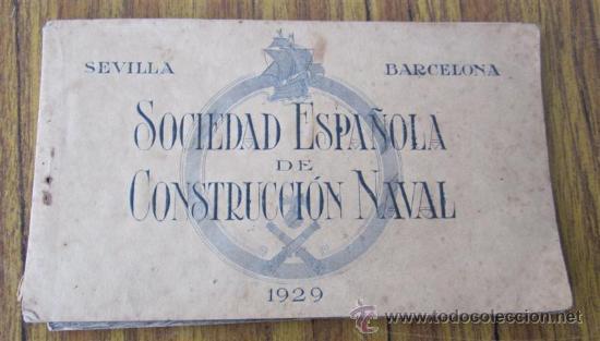 LIBRITO 7 POSTALES DE BARCOS DIFERENTES .. CONSTRUCCION NAVAL 1929 SEVILLA – BARCELONA (Postales - Postales Temáticas - Barcos)