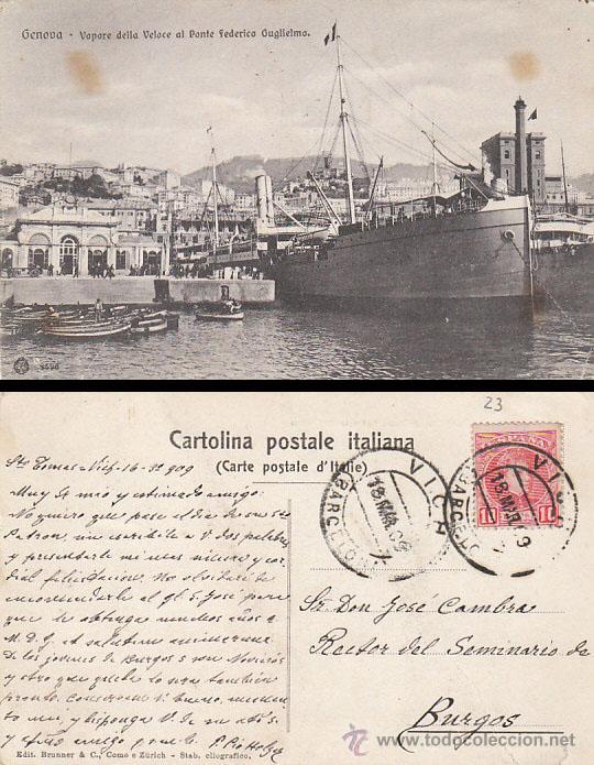ITALIA, GENOVA, VAPOR DE LA VELOCE AL PONTE FEDERICO GUGLIELMO, CIRCULADA EN 1909 (Postales - Postales Temáticas - Barcos)