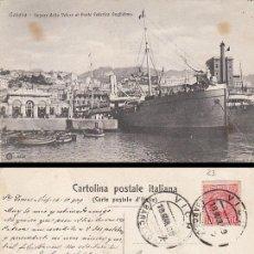 Postales: ITALIA, GENOVA, VAPOR DE LA VELOCE AL PONTE FEDERICO GUGLIELMO, CIRCULADA EN 1909. Lote 30553269