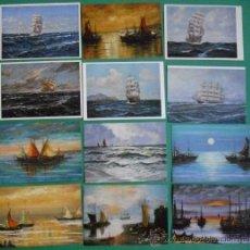 Postales: A-023 LOTE DE 12 POSTALES NO CIRCULADAS DE PINTURAS DE BARCOS. Lote 30806105