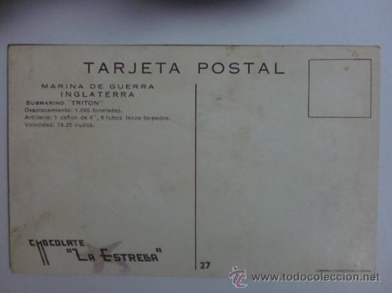 Postales: TARJETA POSTAL. MARINA DE GUERRA, INGLATERRA. SUBMARINO TRITON. VER FOTO ADICIONAL. - Foto 2 - 31971166