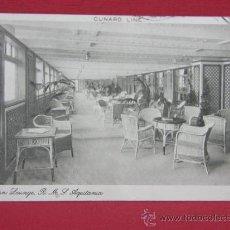 Postales: TARJETA POSTAL BARCO CUNARD LINE R.M.S. AQUITANIA GARDEN LOUNGE ORIGINAL CIRCULADA NEW YORK 1919. Lote 32082087
