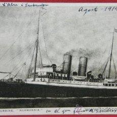 Postales: TARJETA POSTAL BARCO NORMANNIA GEARED TURBINE, ESCRITA SIN CIRCULAR 1919, SIN DIVISIÓN CENTRAL. Lote 32082308