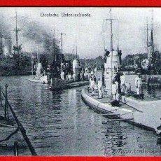 Postales: ANTIGUA POSTAL: SUBMARINOS ALEMANES (U-BOOT) SALIENDO DE BASE - USADA, BIEN CONSERVADA - AÑO 1925. Lote 32214620