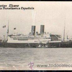 Postales: TARJETA POSTAL. COMPAÑIA TRASATLANTICA ESPAÑOLA. J. SEBASTIAN ELCANO. ALFA, EXPOSICION POSTAL, CADIZ. Lote 32365838