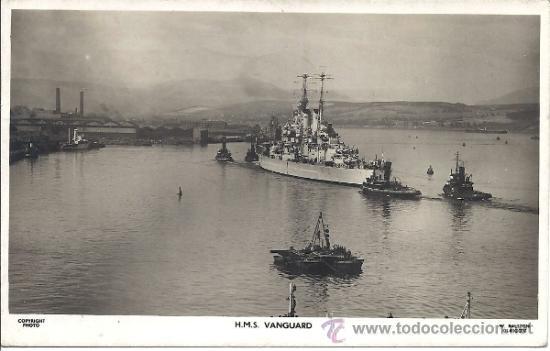 PS0969 POSTAL FOTOGRÁFICA DEL ACORAZADO BRITÁNICO HMS VANGUARD. CIRCULADA EN 1948 (Postales - Postales Temáticas - Barcos)