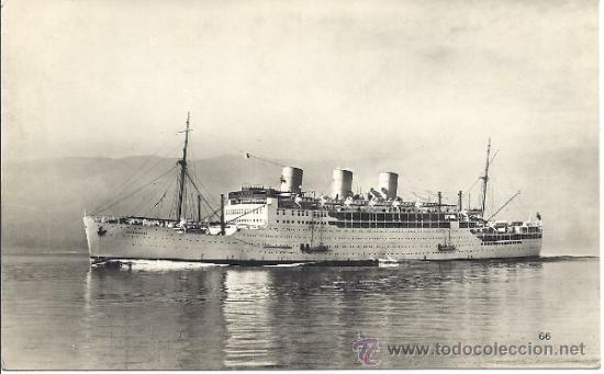 PS0971 POSTAL FOTOGRÁFICA DEL CRUCERO BRITÁNICO 'STRATHNAVER'. CIRCULADA EN 1948 (Postales - Postales Temáticas - Barcos)