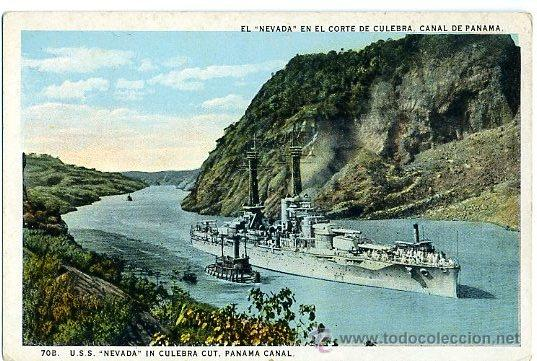 TARJETA POSTAL NUEVA - CANAL PANAMA / USS NEVADA - BARCO NAVAL MILITAR (Postales - Postales Temáticas - Barcos)