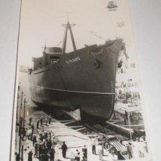 Postales: FOTOGRAFÍA. BOTADURA BUQUE EL PRIORATO (ESCUELA NACIONAL ELCANO), BAZAN - LA CARRACA, 1958. Lote 34082560