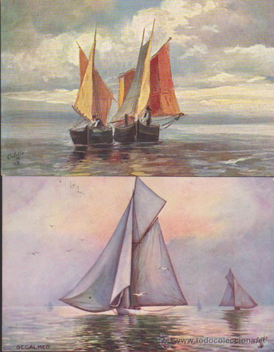 LOTE DE 2 POSTALES INGLESAS. FRANQUEADAS Y FECHADAS EN BRASIL EN 1908. (Postales - Postales Temáticas - Barcos)