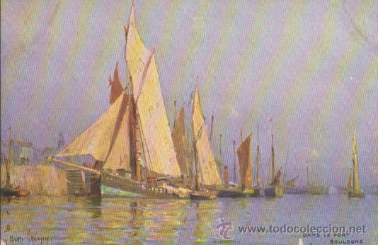 POSTAL INGLESA. FRANQUEADA Y FECHADA EN PORTUGAL EN 1908 (BONITO FRANQUEO) (Postales - Postales Temáticas - Barcos)