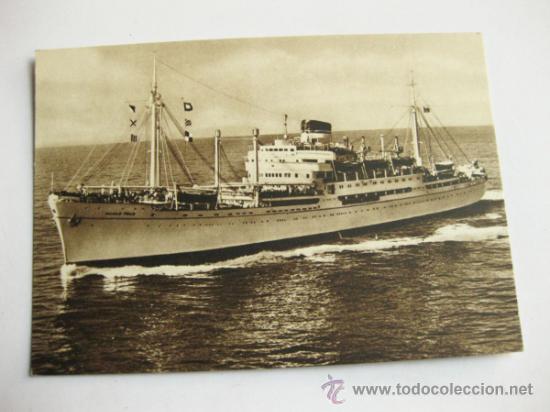 POSTAL PUBLICITARIA DE LA NAVIERA ITALIA - MOTONAVE MARCO POLO (Postales - Postales Temáticas - Barcos)