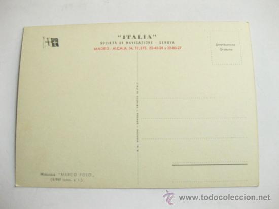 Postales: POSTAL PUBLICITARIA DE LA NAVIERA ITALIA - MOTONAVE MARCO POLO - Foto 2 - 35387085