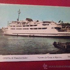 Postales: POSTAL BARCO - CEUTA EL TRANSBORDADOR - CORREO DE CEUTA A ALGECIRAS - VIRGEN DE AFRICA - FOTO RUBIO. Lote 35982953