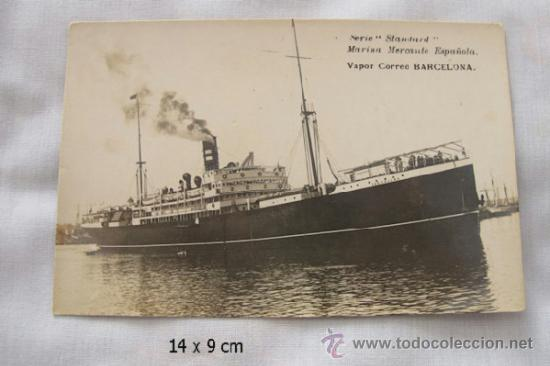 POSTAL BARCO VAPOR CORREO BARCELONA (Postales - Postales Temáticas - Barcos)