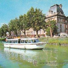 Postales: EL BATEAU-MOUCHE MARGUERITE SALIENDO DEL EMBARCADERO DE LA GARE MATABLEAU EN EL CANAL DE MIDI, FRANC. Lote 36924425