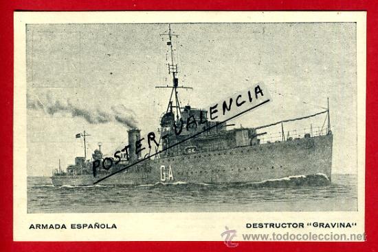 POSTAL BARCOS, ARMADA ESPAÑOLA, DESTRUCTOR GRAVINA, P77954 (Postales - Postales Temáticas - Barcos)