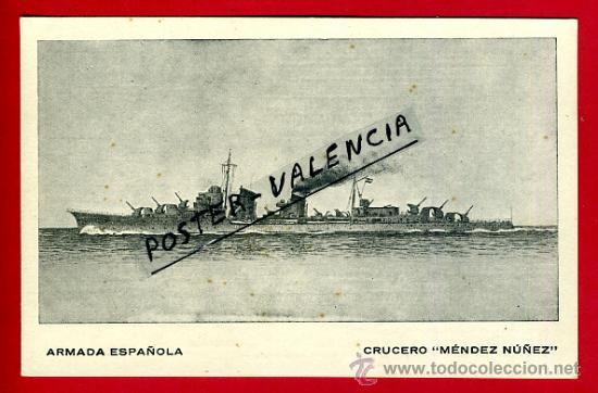 POSTAL BARCOS, ARMADA ESPAÑOLA, CRUCERO MENDEZ NUÑEZ, P77957 (Postales - Postales Temáticas - Barcos)
