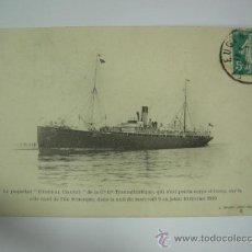 """Postales: POSTAL EL BARCO """" GENERAL CHAZY """" DE LA CIA. TRASATLANTICA, QUE SE PERDIO EN ISLA MENORCA 1910, CIRC. Lote 37770253"""