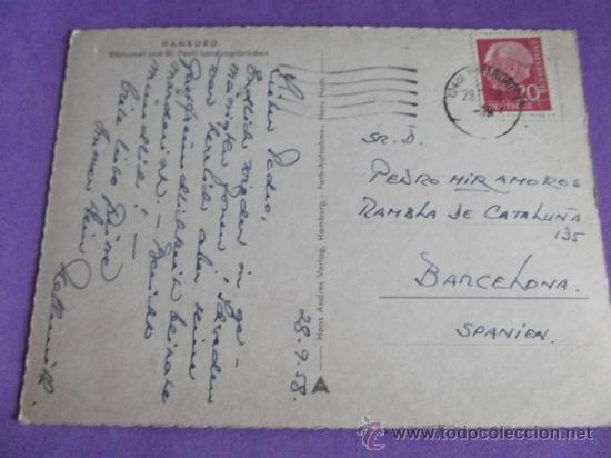 Postales: PUERTOS Y BARCOS 2 - ESCRITA-HAMBURG-1958 - Foto 2 - 38311686