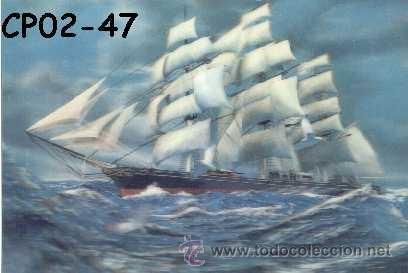 ANTIGUA POSTAL RELIEVE BARCO CUTTY SARK AÑOS 60 A ESTRENAR* (Postales - Postales Temáticas - Barcos)