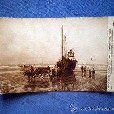 Postales: POSTAL BARCOS SALON DE LA ESCUELA FRANCESA 1914 E DEVE DESEMBARCO DE PESCADO CIRCULADA 1916. Lote 38588308