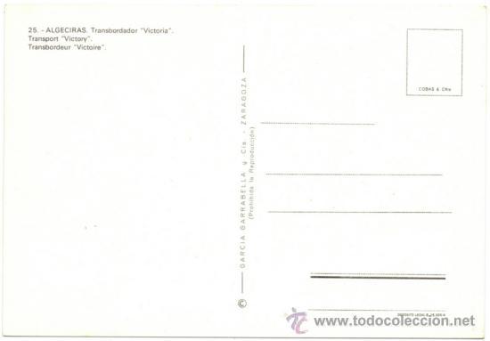 Postales: ALGECIRAS.- TRANSBORDADOR ``VICTORIA´´. - Foto 2 - 38890362