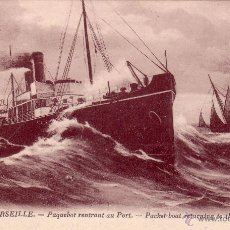 Postales: VAPORES CORREOS. * MARSEILLE. PAQUEBOT RENTRANT AU PORT-PACKETBOAT TO THE HARBOURG *. S/C. MUY RARA.. Lote 25646866