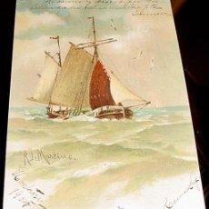 Postales: ANTIGUA POSTAL - BARCO - DIBUJO DE UN BARCO VELERO - CIRCULADA EN 1905.. Lote 38235292