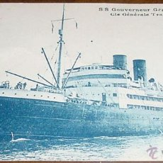 Postales: ANTIGUA POSTAL DEL BARCO SS. GOUVERNEUR GENERAL CHANZY - CIE GENERALE TRANSATLANTIQUE - SIN CIRCULAR. Lote 38240989