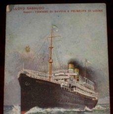 Postales: ANTIGUA POSTAL DE BARCO LLOYD SABAUDO - TOMASO DI SAVOIA E PRINCIPE DI UDINE - NO CIRCULADA - CON DE. Lote 38255933