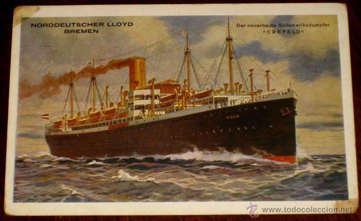 ANTIGUA POSTAL DE BARCO NORDDEUTSCHER LLOYD BREMEN - NO CIRCULADA - CON DESPERFECTOS. (Postales - Postales Temáticas - Barcos)