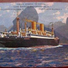 Postales: ANTIGUA POSTAL DEL BARCO SIERRA MORENA - NORDDEUTSCHER LLOYD BREMEN - CON PUBLICIDAD DE AGENTE GENER. Lote 38261659