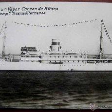 Postales: ANTIGUA FOTO POSTAL DEL BARCO PLUS ULTRA, VAPOR CORREO AFRICA - COMPª. TRASMEDITERRANEA - ED. ALFA -. Lote 38261672