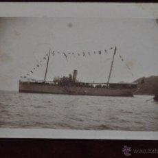 Postales: ANTIGUA FOTO POSTAL DE UN BARCO CIRCULADA DE BARCELONA A LIEGE. Lote 41001027