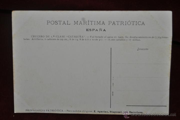 Postales: POSTAL MARÍTIMA PATRIÓTICA. ESPAÑA. EL CRUCERO CATALUÑA - Foto 2 - 41123637