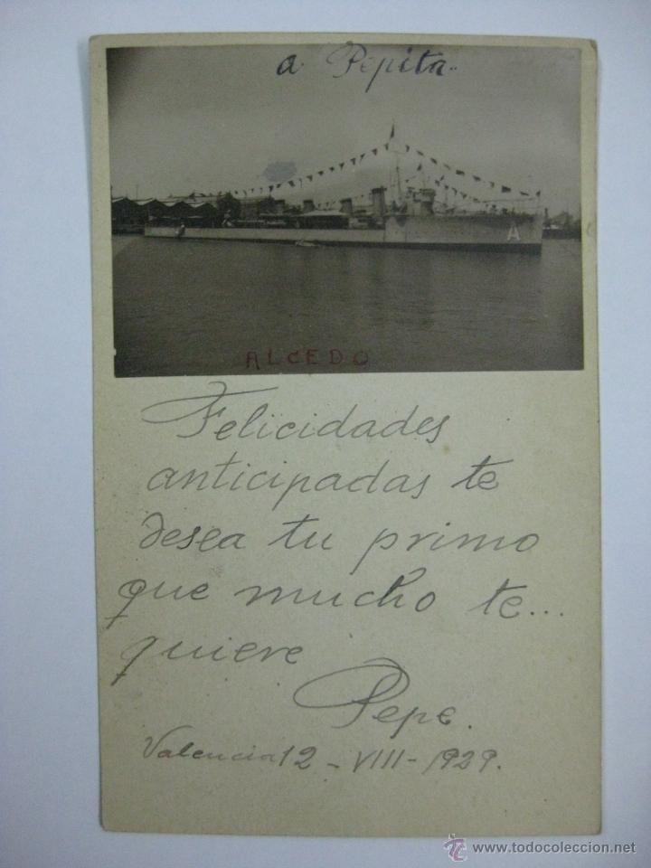 POSTAL FOTOGRAFICA - BARCO - ALCEDO - ESCRITA EN VALENCIA AÑO 1929 (Postales - Postales Temáticas - Barcos)