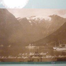Postales: RARÍSIMA FOTOGRAFÍA DEL YATE PERSONAL DEL KAISER GUILLERMO II Y SU ESCOLTA. FIORDOS NORUEGOS. 1910. Lote 41971383