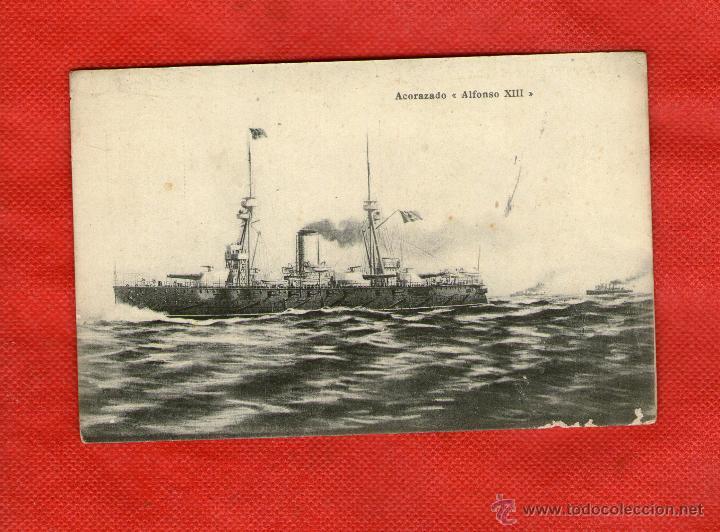RARA POSTAL ACORAZADO ALFONSO XIII (Postales - Postales Temáticas - Barcos)