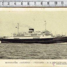 Postales: POSTAL PUBLICITARIA MOTONAVIOS-SATURNIA-VULCANIA/CÓSULICH-LINE/BARCELONA 1929.. Lote 43269561