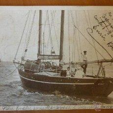 Postales: POSTAL BARCO EVALU TRAVESIA ATLÁNTICO BARCELONA GRAN CAFÉ ESPANYOL 1930 ENRIC BLANCO FIRMADA NAUTICA. Lote 43493261