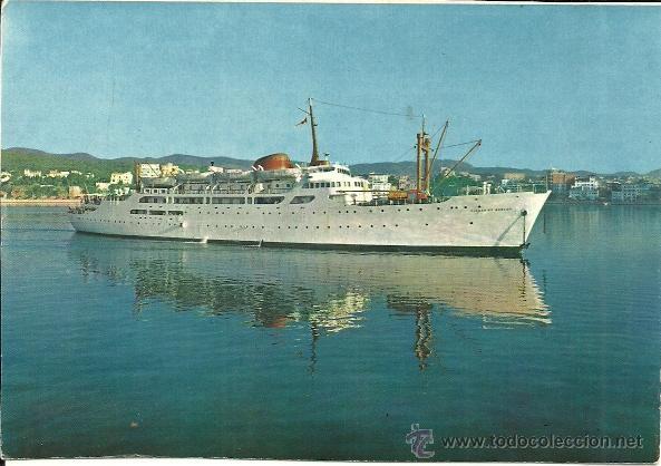 POSTAL BARCO - BUQUE CIUDAD DE BURGOS - PALMA DE MALLORCA - NEVCOLOR - SIN CIRCULAR - 1960 (Postales - Postales Temáticas - Barcos)