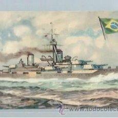 Postales: TARJETA POSTAL DE BARCO MARINA DE GUERRA BRASIL ACORAZADO MINAS GERAES. Lote 45839514